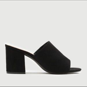 ARDENE Black Suede block heels mule - Size 10